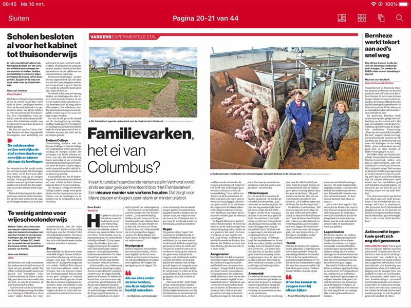 Brabants Dagblad 16 maart 2020